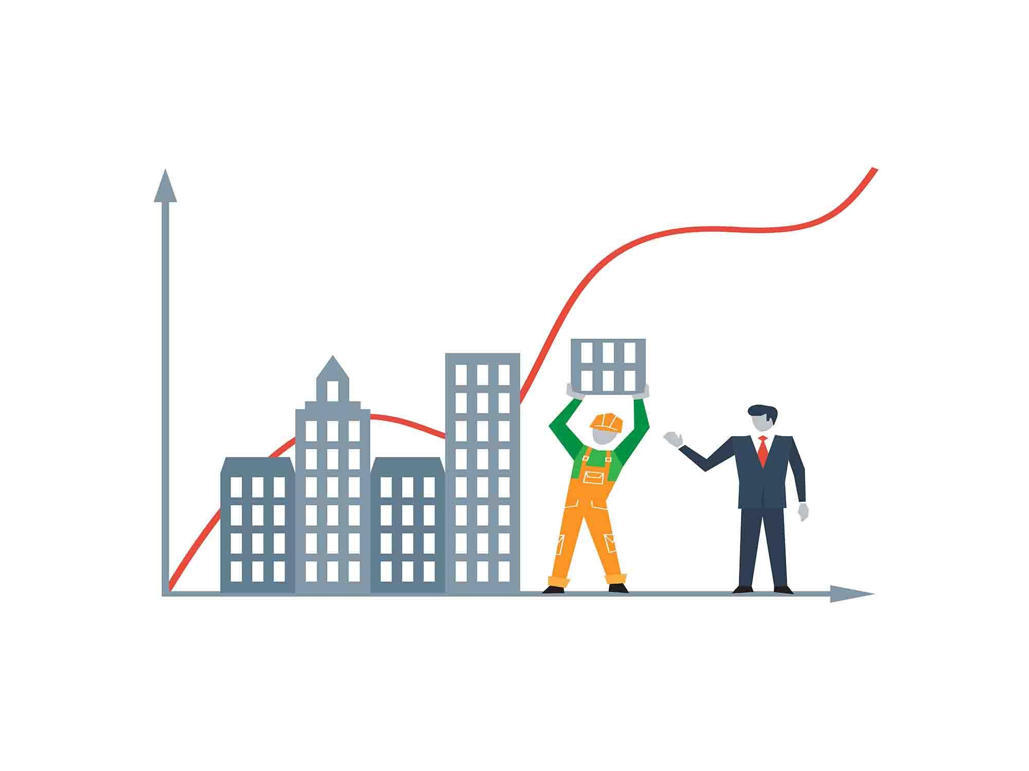איש עסקים ודמות של בנאי עם רקע של בניינים